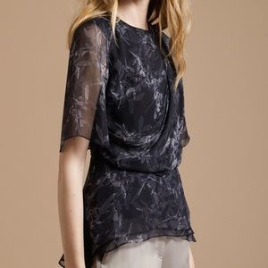 Halston Heritage Black Printed Silk Draped Shirt